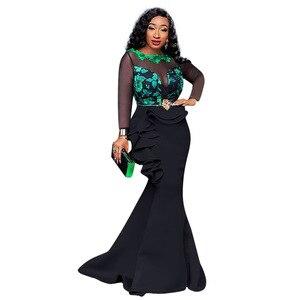 Image 4 - Robes africaines pour femmes dames longue fête robe de sirène Sexy maille transparente volants soirée moulante Maxi robe trompette