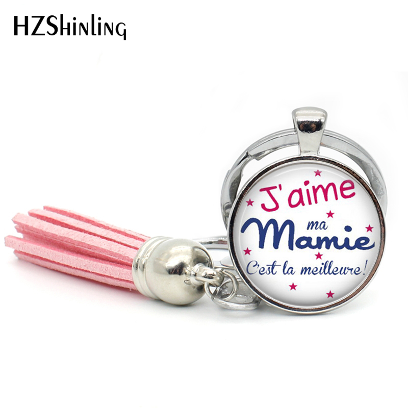 TAK--112 Fashion Jaime Mamie Tassel Key Chain Handmade  Je Suis Une Mamie Jewelry Glass Cabochon Super Mamie Keyring For Women