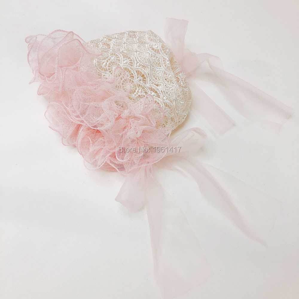 New Handmade Peach Floral with White Lace and Bows Baby Bonnet