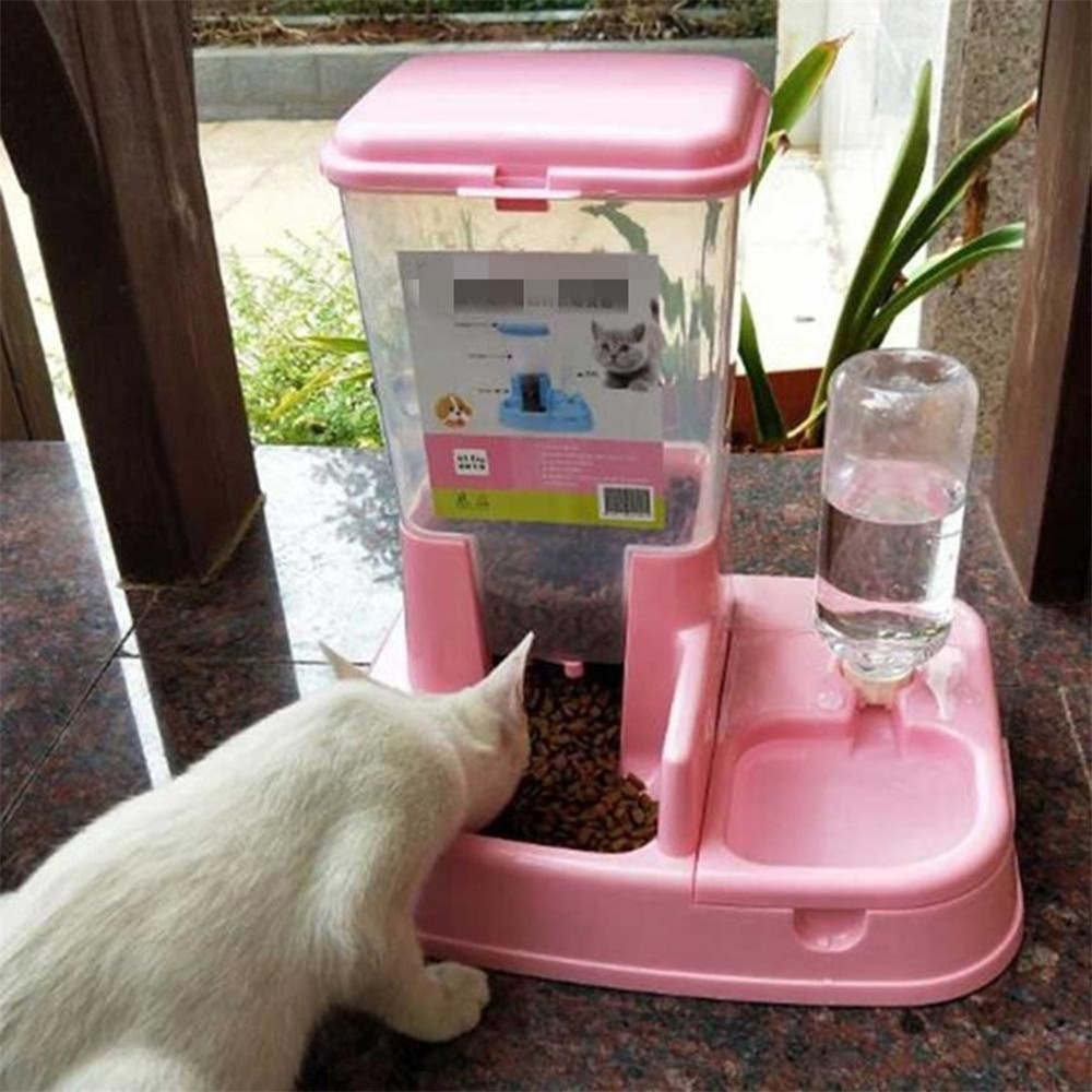 Dispensadora automática de agua y comida para mascotas, instrumento práctico de alimentación y bebedero, con botella y tazón, para gatos y perros|Productos de alimentación para gatos| - AliExpress