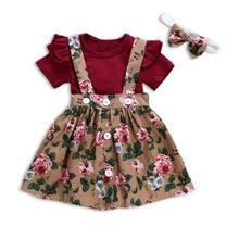 3PCS/Set Newborn Infant Baby Girl Outfits Clothes Set Romper Tops +Strap Skirt Dress + Headband