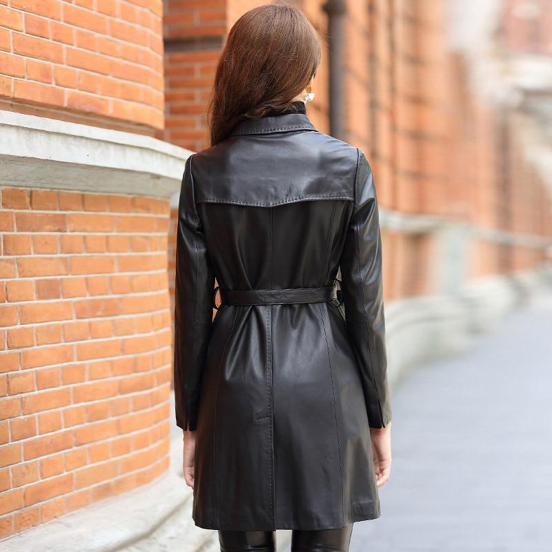 Ladies Office 100% Genuine Leather Overcoat Brand Slim Single Breasted Belt Long Sheepskin Coat Women Fashion Solid Black Jacket