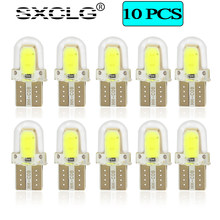 SXCLG 10PCS Car T10 LED Bulbs W5W Auto Clearance Dome Reading Light Trunk Lamp 12V White Yellow Bule Green Red Pink Signal Light