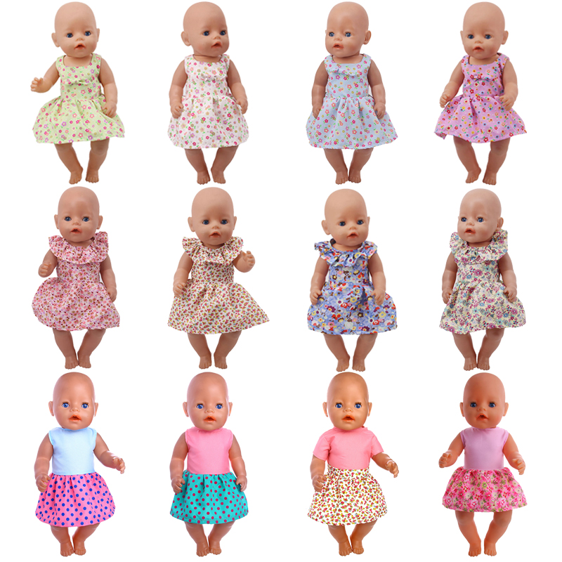 Doll Clothes 15 Colorful Dress With Bow Tie Fit 18 Inch American&43 Cm Baby New Born Doll Zaps Generation Christmas Girl`s Toy