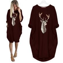 5xl свободное платье с рождественским принтом и длинным рукавом
