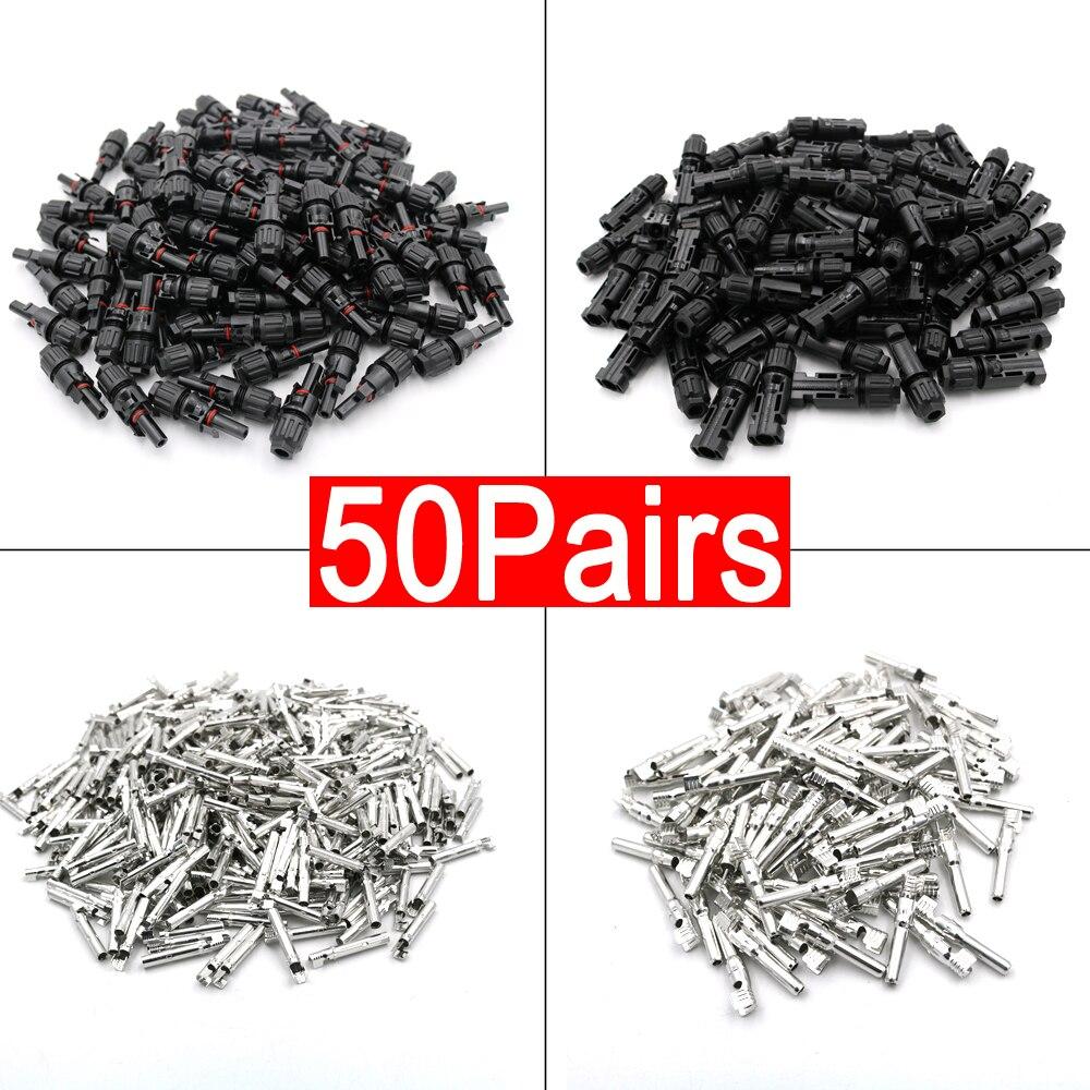 50 пар x MC-4 разъем мужского и женского пола Панели солнечные разъем 30A 1000V 100 шт. волоконно оптический кабель 2,5/4/6 мм медный контакт
