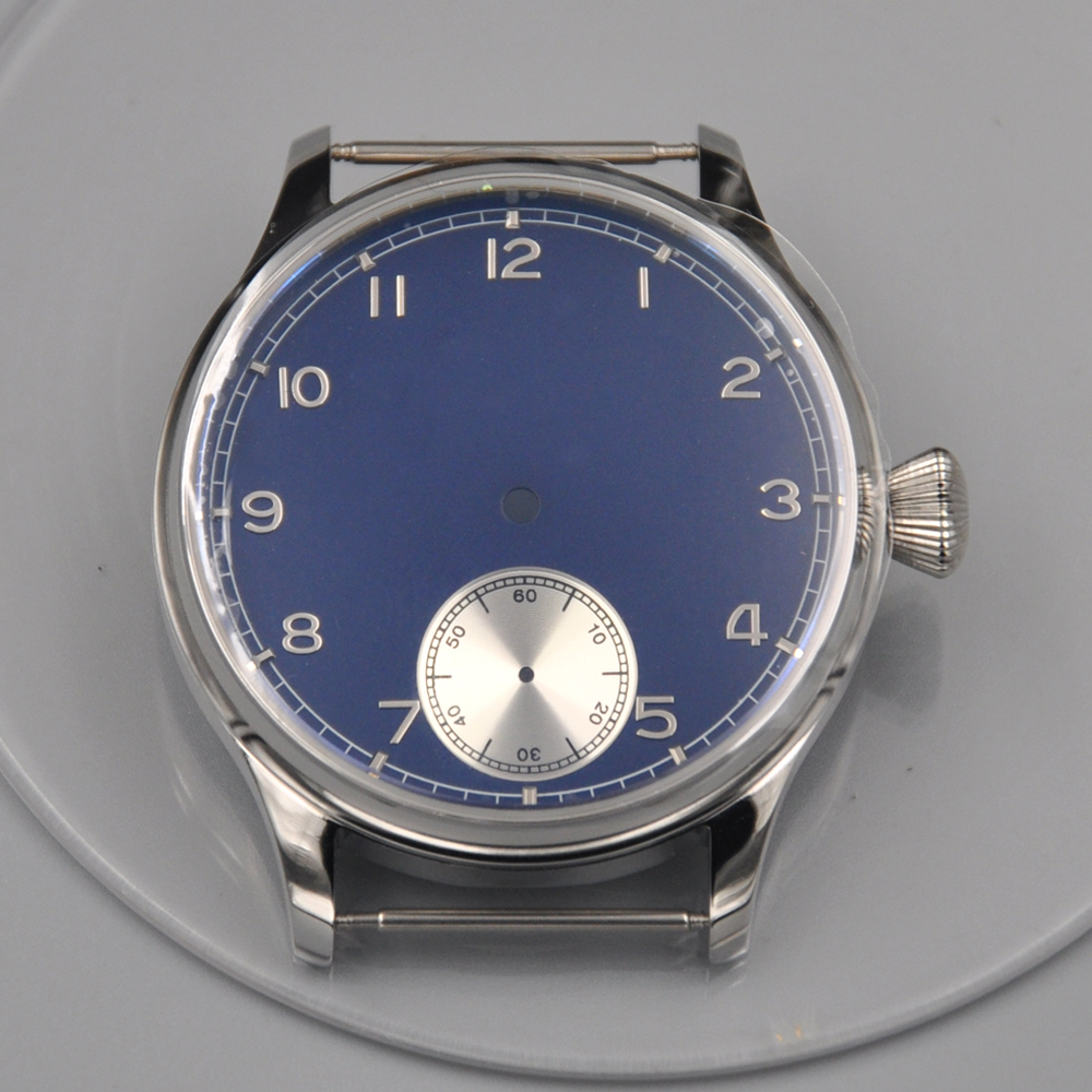 Corgeut DIY Watch Parts 44mm Stainless Steel Case Blue Dial Silver Subdials Fit ETA 6498 6497 Hand Winding Movement Watch Case