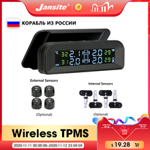 Jansite TPMS sistema di monitoraggio della pressione dei pneumatici per auto Display in tempo reale collegato a tpms wireless a energia solare in vetro con 4 sensori