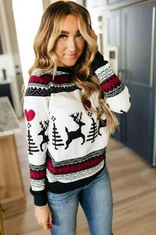 Christmas Sweater Women 2019 Autumn Winter Knitted Ribbed Sweater Pullover Round Neck Slim Fashion Loose Warm Sweater Pull Femme