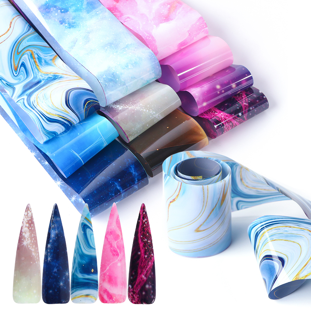 10 Rolls Transparent Nail Art Foil Stickers Starry Sky UV Gel Transfer Wraps Nail Adhesive Decals Nail Decoration Manicure 2