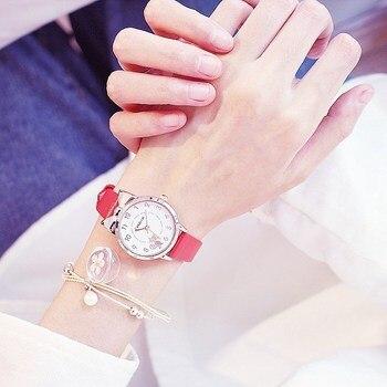 1PC New Students Children Pink Watch Girls Leather Child Hours Black Cat Quartz Wristwatch Round Analog Clock Wrist Watches 1