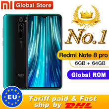 "Global ROM Xiaomi Redmi Note 8 Pro 6GB 64GB MTK Helio G90T Smartphone 6.53 ""64MP Quad kamera Belakang 4500 MAH(China)"