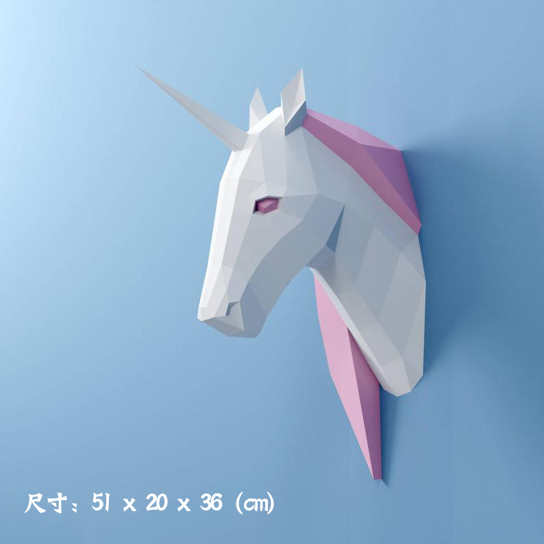 3D Paper Model Unicorn Papercraft Home Decor Wall Decoration Puzzles Educational DIY Kids Toys Birthday Gift 2084