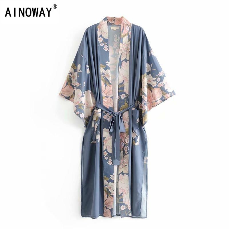 Blusa de manga larga estilo bohemio con estampado Floral y pavo real, Camisa larga estilo Kimono con escote triangular para mujer