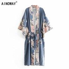 Blusa holgada estilo bohemio con estampado Floral de pavo real para verano, Camisa larga estilo Kimono con mangas de murciélago y cuello de pico para mujer