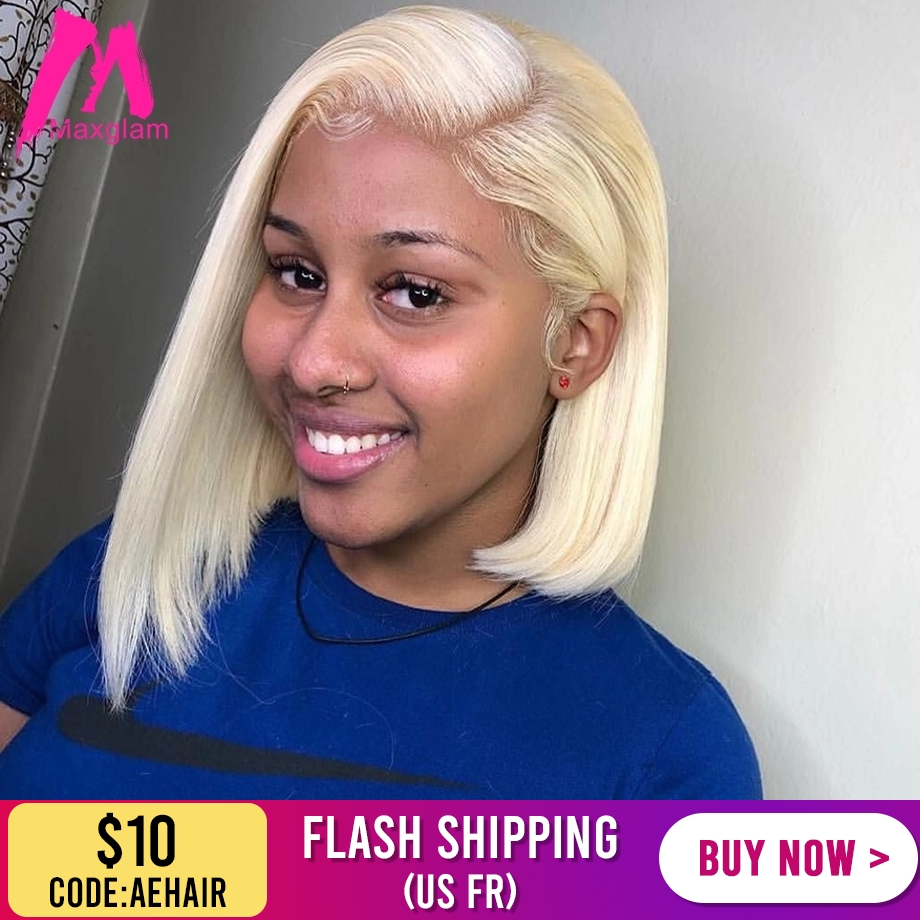 Short Bob Lace Front Human Hair Wigs Brazilian Straight Long Blonde 613 T1B/613 Wig Afro Ombre Preplucked For Black Women