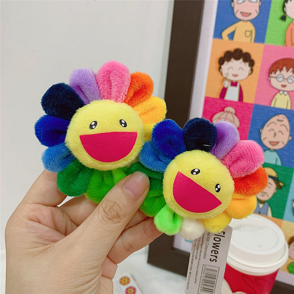 1pcs Mini Plush Keychain Sun Flowers Brooch Soft Stuffed Cute Cartoon Smiley Face Colorful Plush Brooch Hanging Accessories Toy