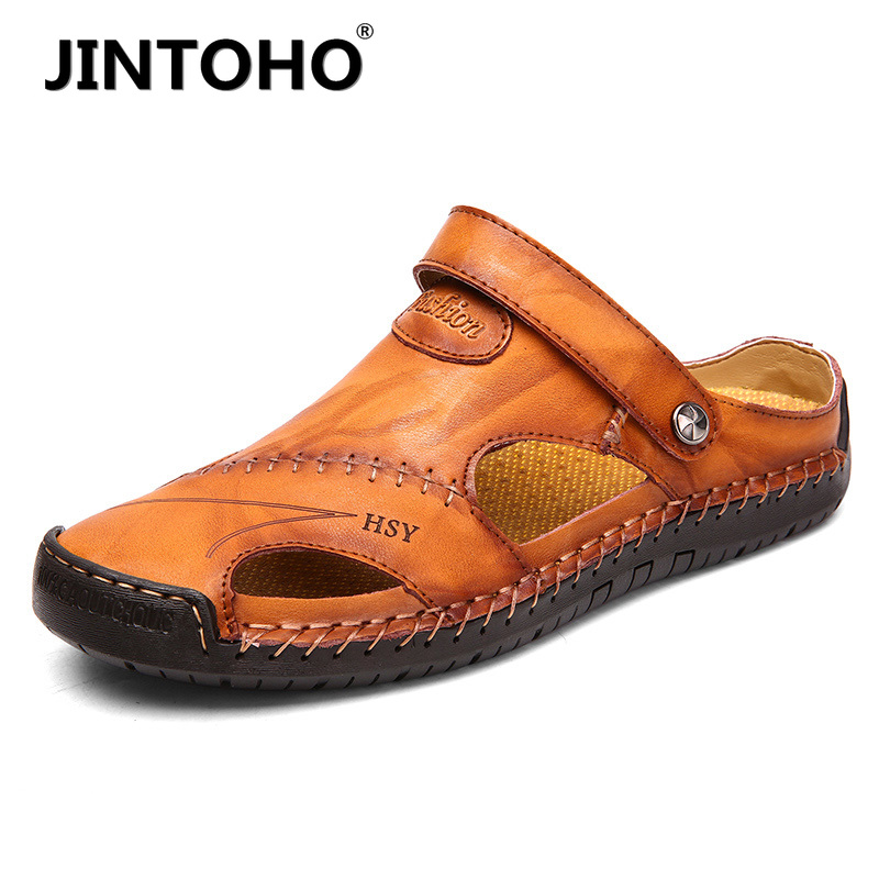 JINTOHO Classic Men's Sandals Summer Leather Beach Sandals Soft And Comfortable Home Casual Shoes