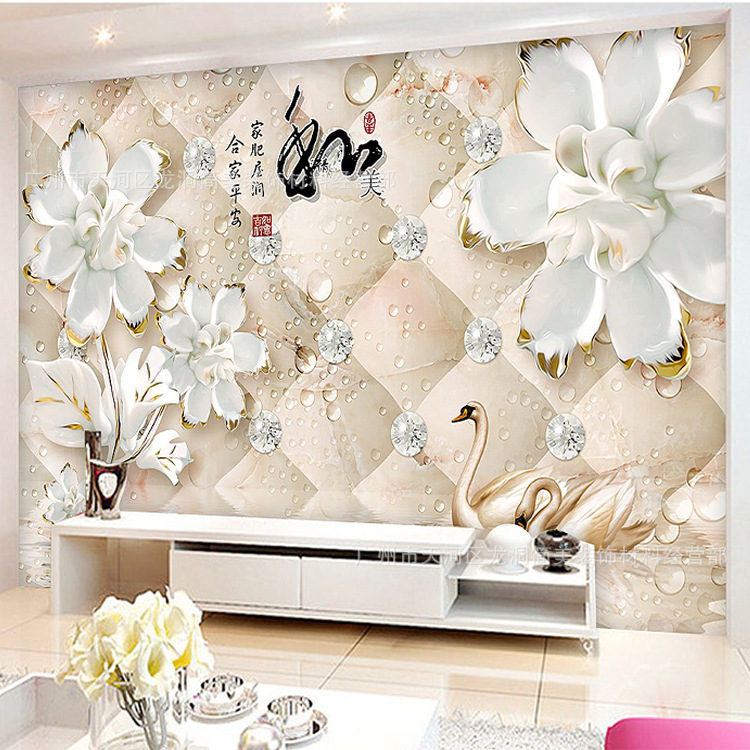Customizable Luxury Jewelry Large 3D Mural Living Room Sofa Wall Wallpaper TV Wall Non-woven Wallpaper Wall Covering Fabric