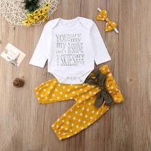 Primavera roupas para meninas do bebê recém-nascido roupas da menina do bebê amarelo topos macacão dot bowknot calças compridas 3 peças conjunto roupa 0-24m itens do bebê
