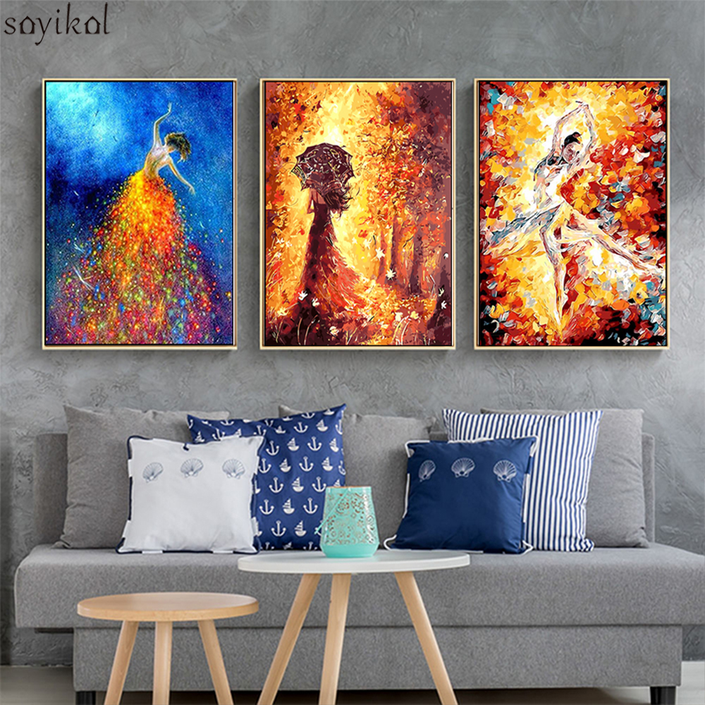 Framed DIY Painting By Numbers Beautiful Women Autumn Landscape Gift Kits Coloring Paint By Numbers Modern Wall Art Picture