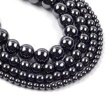 Grânulos de pedra hematite preto natural para fazer jóias 4 6 8 10mm redondo solto espaçador grânulos diy pulseira colar acessórios 15