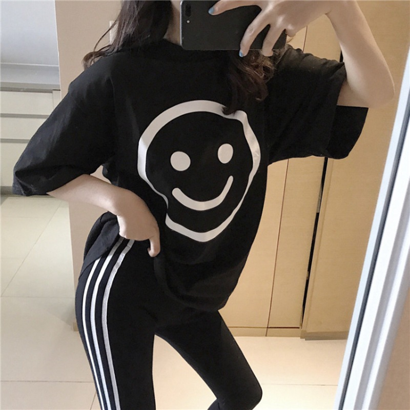 2019 Summer New Style Korean-style Two-Piece Set WOMEN'S Short Sleeved T-shirt Women's + Outer Wear Skinny Leggings WOMEN'S Dres
