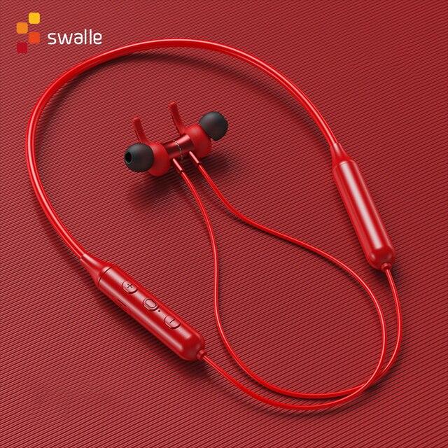 מגנטי אלחוטי Bluetooth 5.0 אוזניות Neckband סטריאו אוזניות דיבורית עמיד למים אוזניות עם מיקרופון Bluetooth אפרכסת