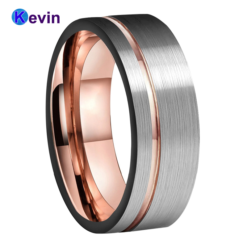 Stainless Steel Grooved Striped Comfort Fit Wedding Flat Band Ring