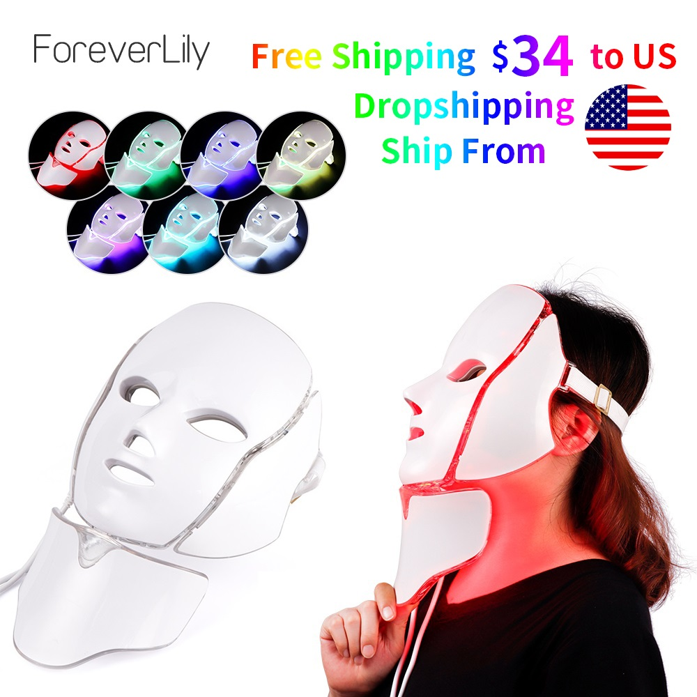 Dropshipping Free Shipping Photon Electric LED Facial Mask LED Mask Light Therapy Beauty Skin Care 7 Colors 3 Colors  Women