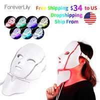 Dropshipping freies verschiffen Photon Elektrische LED Gesichts Maske LED maske Licht Therapie Schönheit Hautpflege 7 farben 3 farben frauen