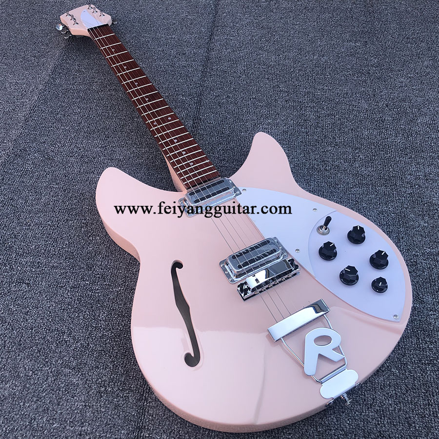 High quality <font><b>360</b></font> electric <font><b>guitar</b></font> with f hole, pink paint and bright fingerboard. Rosewood, Korean pickup, postage image