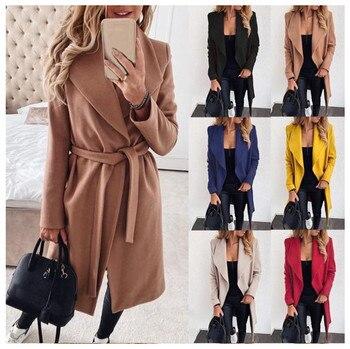 2021 nuevo Otoño Invierno de talla grande negro caqui largo cinturón solapas zaraing estilo México 2020 mujeres sheining vadiming mujer chaqueta abrigo 1