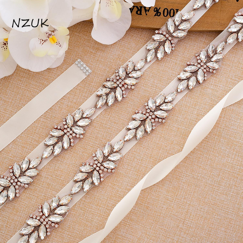 Rose Gold Diamond Satin Bridal Sash Dress Belt Rhinestone Wedding Belt For Accesorios Y161RG