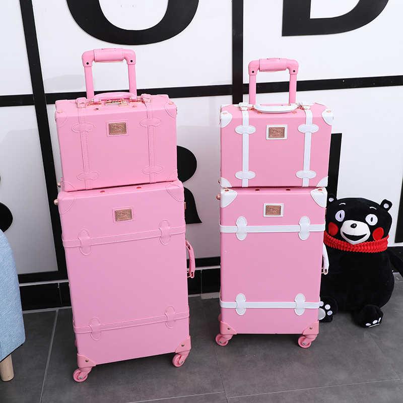 Juego de equipaje rodante para mujer, Maleta de viaje con ruedas, cubierta de carrito de cuero PU, juego de maletas Retro vintage, bolsa de equipaje de 20 pulgadas y 24 pulgadas