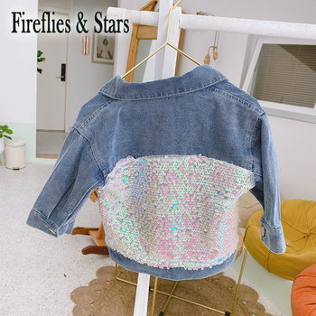 Spring Autumn girls denim jacket baby coat children outwear kids streetwear clothes back radient glitter sequin patch 1 to 7 yrs image