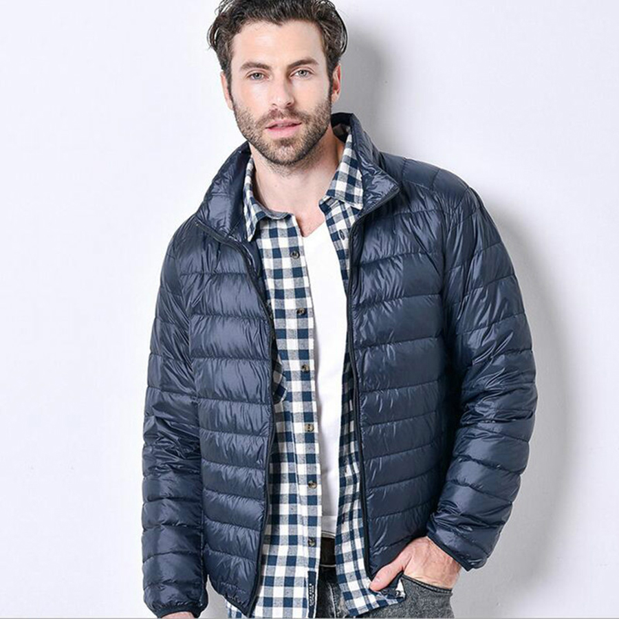 Autumn Ultralight Thin   Down     Coat   Male Goose Feather Large Size Casual Short Jacket Men Standing Collar   Down   Jacket Wholesale