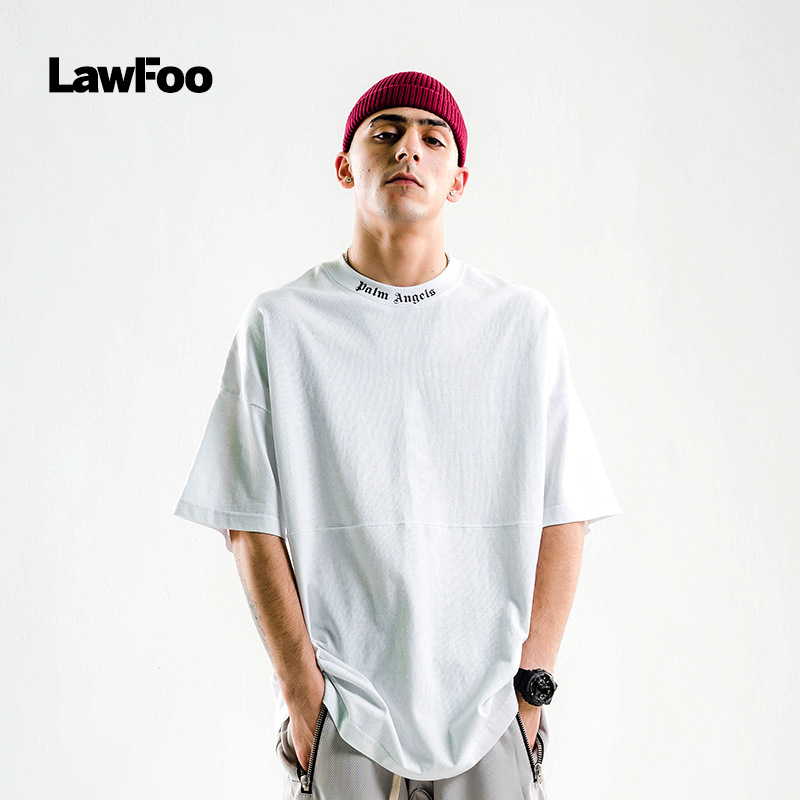 Lawfoo Men'S Wear  Spring And Summer New Style Europe And America Popular Brand Half-sleeve Shirt Printed Letter Oversize ME