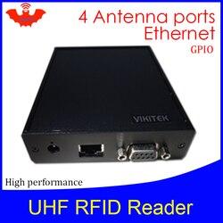 قارئ UHF rf إمبينج r2000 4 منفذ هوائي إيثرنت 915MHZ لخط إنتاج لوجستي المخزن ثابت قارئ رقاقة rj45 رفيد