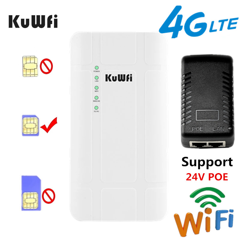 KuWFi Outdoor 4G LTE Router High Power 300Mbps Wireless CPE Router CAT4 3G 4G SIM WiFi Router for IP Camera With 24V POE Adapter