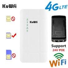 KuWFi Ao Ar Livre 4G LTE Router Roteador CPE De Alta Potência 300 Mbps Com Adaptador POE 24 V CAT4 3G / 4G Cartão SIM Roteador WiFi para Câmera IP