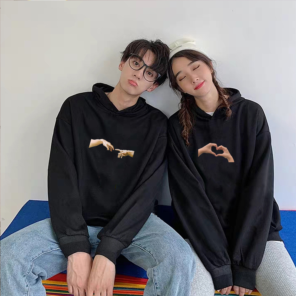 Cotton Men Womens Sweatshirts Hoodies Aesthetic Michelangelo Heart Hands Print Tops 90s Graphic Hoodie Oversize Couple Pullover