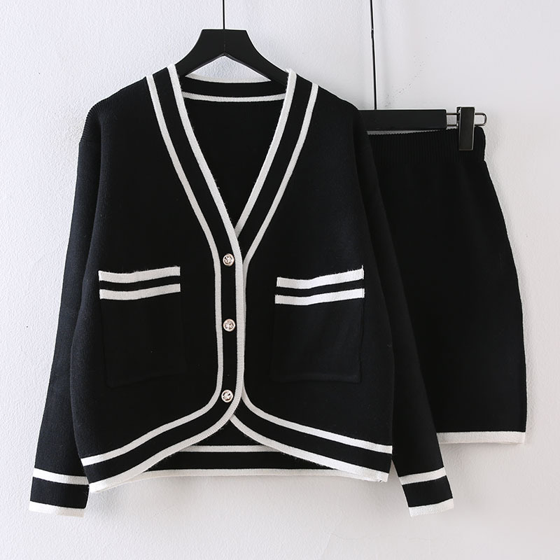 2020 Spring And Autumn By Age College Style Contrast Color Knitting Suit New Style Sweater Coat Western Style Short Skirt Long S