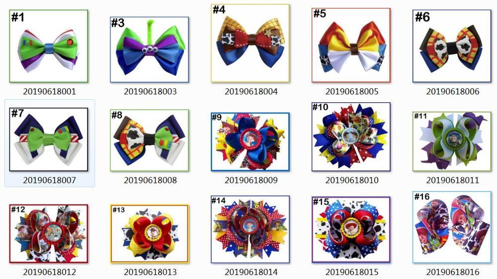 """5 шт 4,5-5,"""" История Вдохновленный персонаж W oo-dy Jess-ie B o Peep-Buzz& Al ien банты для волос - Цвет: mix color"""