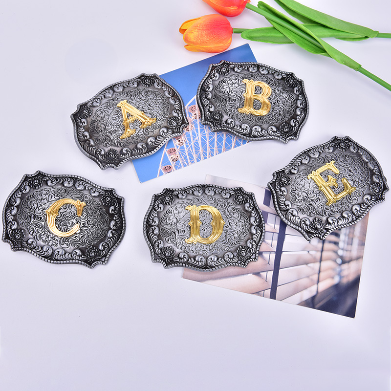 1PC Hot New Cowboy Belt Buckle With Initial Letter Retro Belt Buckle Head Suit Belt New Year Gifts