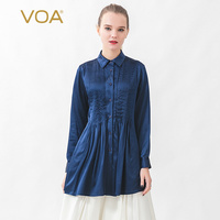 VOA satin 19mm silk design single row multi button long sleeve blue shirt women blouse womens tops and blouses shein B0100