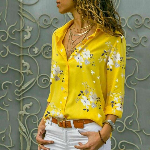 Plus size Autumn hot sale Temperament commute Women's Long Sleeve Casual Loose Tops Ladies Plain Button Blouse Shirts 4