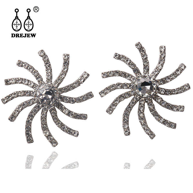 DREJEW Vortex Flower Luxury Silver Rhinestone Statement Earrings 925 Stud Earrings for Women Wedding Christmas Jewelry E9651