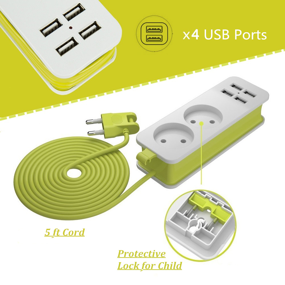 EU Travel Power Strip 1/2/3 AC Outlets 4 USB With 1.5M Cord Extension Socket Wall Multiple Socket Portable Overload Protection