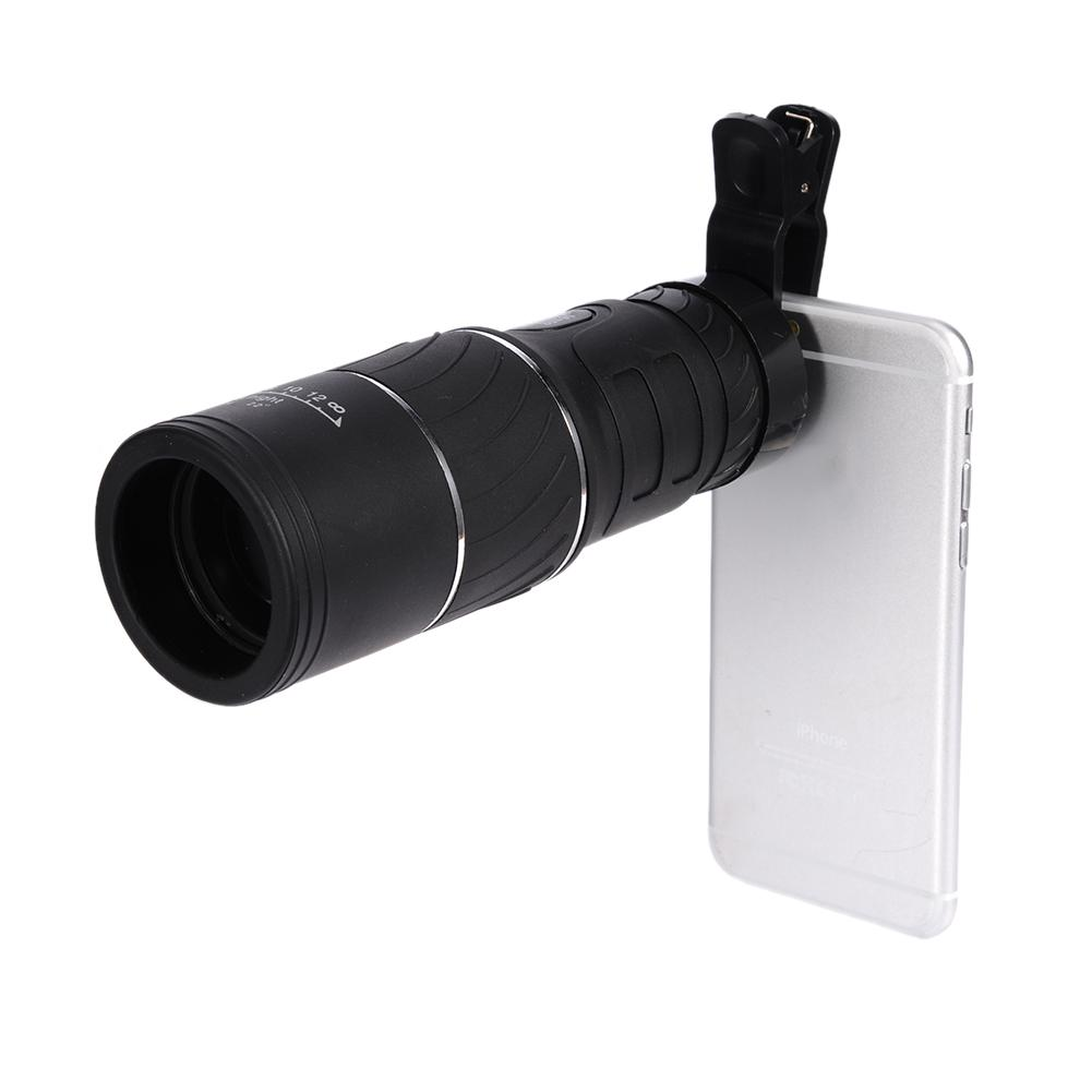 16x52 Dual Focus Zoom Optic Lens Day Night Vision Travel Monocular Telescope HD Optical Monocular with Mobile Phone Holder